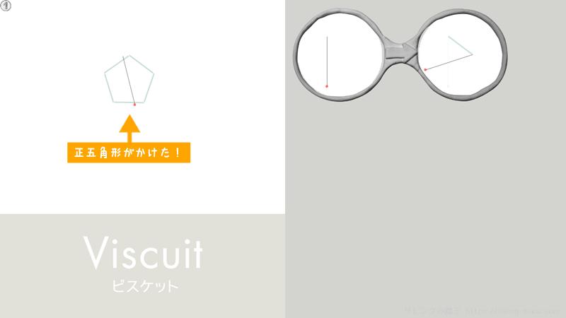 ビスケットで正五角形を描く(実行結果)